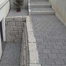 Pantina Gartenbau Stufen und Mauer Beispiel